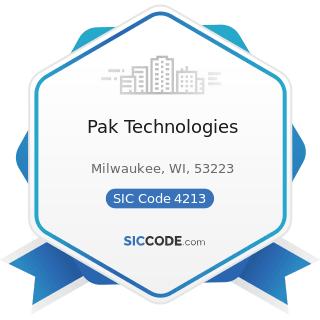 Pak Technologies - SIC Code 4213 - Trucking, except Local