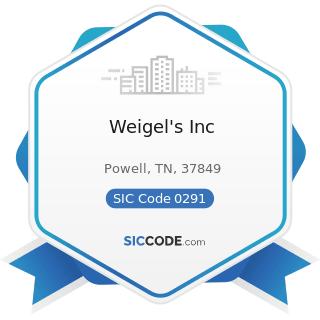 Weigel's Inc - SIC Code 0291 - General Farms, Primarily Livestock