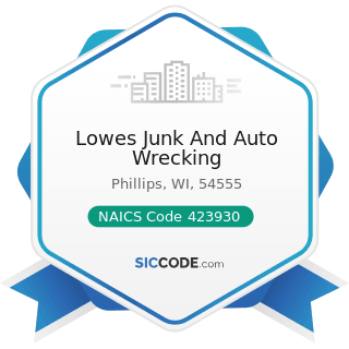 Lowes Junk And Auto Wrecking - NAICS Code 423930 - Recyclable Material Merchant Wholesalers