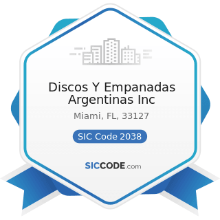 Discos Y Empanadas Argentinas Inc - SIC Code 2038 - Frozen Specialties, Not Elsewhere Classified
