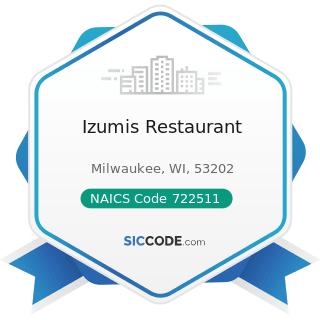 Izumis Restaurant - NAICS Code 722511 - Full-Service Restaurants