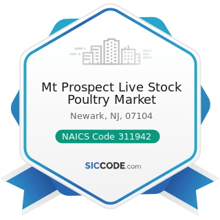 Mt Prospect Live Stock Poultry Market - NAICS Code 311942 - Spice and Extract Manufacturing
