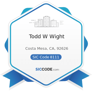 Todd W Wight - SIC Code 8111 - Legal Services