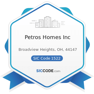 Petros Homes Inc - SIC Code 1522 - General Contractors-Residential Buildings, other than...