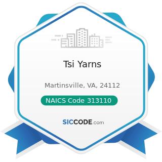 Tsi Yarns - NAICS Code 313110 - Fiber, Yarn, and Thread Mills