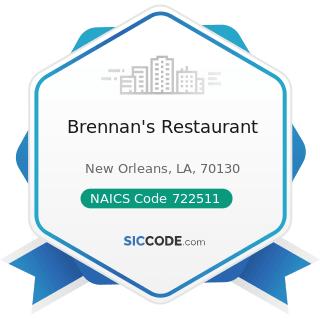 Brennan's Restaurant - NAICS Code 722511 - Full-Service Restaurants