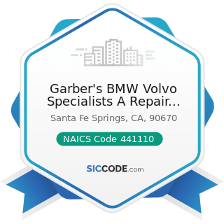 Garber's BMW Volvo Specialists A Repair Pal Certified Shop - NAICS Code 441110 - New Car Dealers