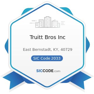 Truitt Bros Inc - SIC Code 2033 - Canned Fruits, Vegetables, Preserves, Jams, and Jellies