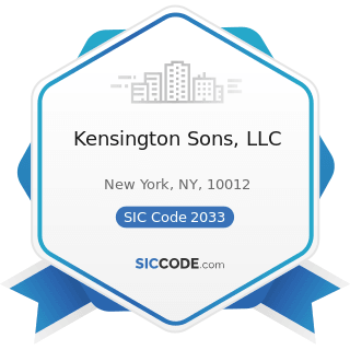 Kensington Sons, LLC - SIC Code 2033 - Canned Fruits, Vegetables, Preserves, Jams, and Jellies