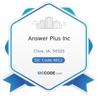 Answer Plus Inc - SIC Code 4812 - Radiotelephone Communications