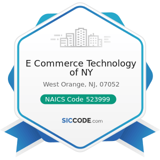 E Commerce Technology of NY - NAICS Code 523999 - Miscellaneous Financial Investment Activities