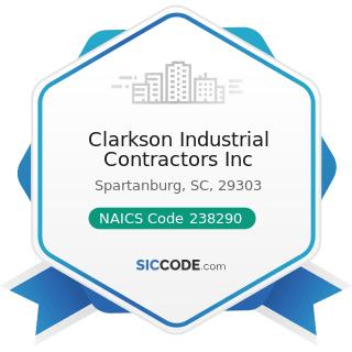 Clarkson Industrial Contractors Inc - NAICS Code 238290 - Other Building Equipment Contractors