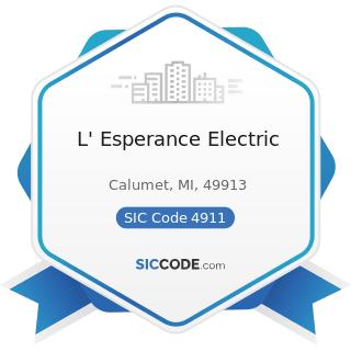 L' Esperance Electric - SIC Code 4911 - Electric Services