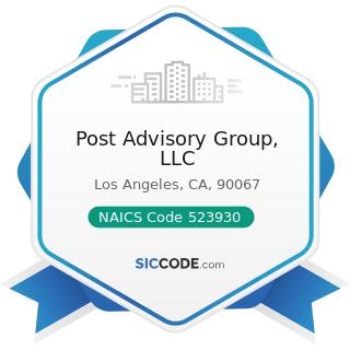 Post Advisory Group, LLC - NAICS Code 523930 - Investment Advice