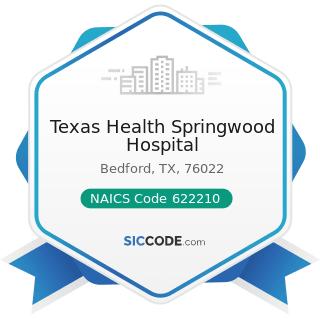 Texas Health Springwood Hospital - NAICS Code 622210 - Psychiatric and Substance Abuse Hospitals