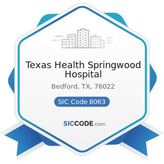 Texas Health Springwood Hospital - SIC Code 8063 - Psychiatric Hospitals