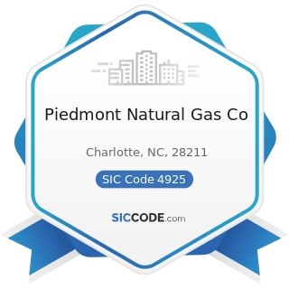 Piedmont Natural Gas Co - SIC Code 4925 - Mixed, Manufactured, or Liquefied Petroleum Gas...