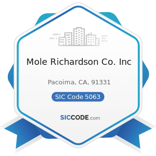 Mole Richardson Co. Inc - SIC Code 5063 - Electrical Apparatus and Equipment Wiring Supplies,...