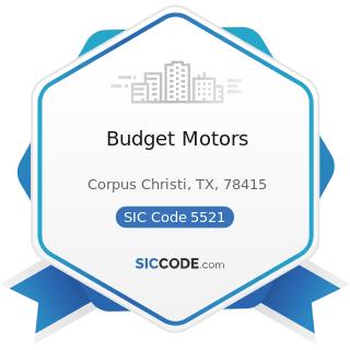 Budget Motors - SIC Code 5521 - Motor Vehicle Dealers (Used Only)