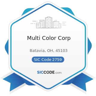 Multi Color Corp - SIC Code 2759 - Commercial Printing, Not Elsewhere Classified