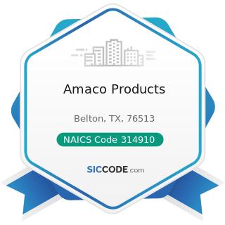 Amaco Products - NAICS Code 314910 - Textile Bag and Canvas Mills