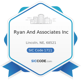 Ryan And Associates Inc - SIC Code 1711 - Plumbing, Heating and Air-Conditioning