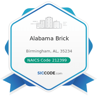 Alabama Brick - NAICS Code 212399 - All Other Nonmetallic Mineral Mining