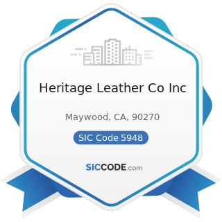 Heritage Leather Co Inc - SIC Code 5948 - Luggage and Leather Goods Stores