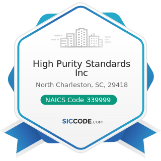 High Purity Standards Inc - NAICS Code 339999 - All Other Miscellaneous Manufacturing