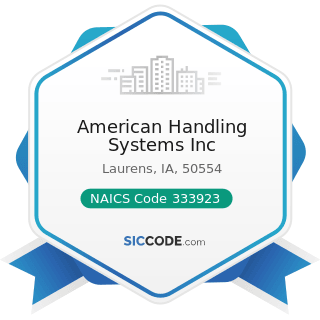 American Handling Systems Inc - NAICS Code 333923 - Overhead Traveling Crane, Hoist, and...