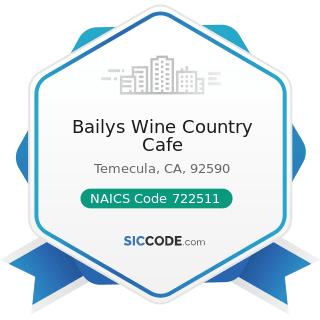 Bailys Wine Country Cafe - NAICS Code 722511 - Full-Service Restaurants