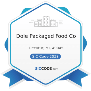 Dole Packaged Food Co - SIC Code 2038 - Frozen Specialties, Not Elsewhere Classified