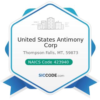 United States Antimony Corp - NAICS Code 423940 - Jewelry, Watch, Precious Stone, and Precious...