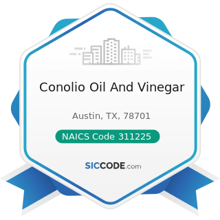 Conolio Oil And Vinegar - NAICS Code 311225 - Fats and Oils Refining and Blending