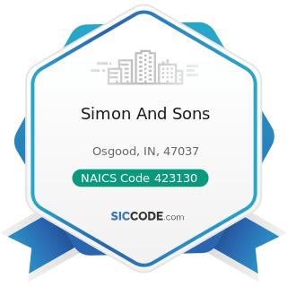 Simon And Sons - NAICS Code 423130 - Tire and Tube Merchant Wholesalers