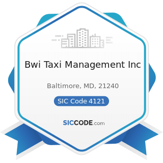 Bwi Taxi Management Inc - SIC Code 4121 - Taxicabs