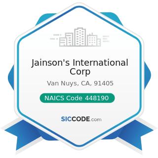 Jainson's International Corp - NAICS Code 448190 - Other Clothing Stores