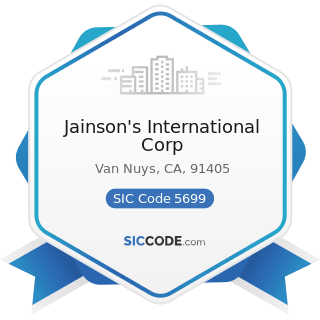 Jainson's International Corp - SIC Code 5699 - Miscellaneous Apparel and Accessory Stores