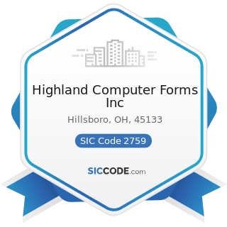 Highland Computer Forms Inc - SIC Code 2759 - Commercial Printing, Not Elsewhere Classified