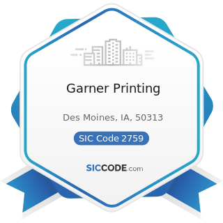 Garner Printing - SIC Code 2759 - Commercial Printing, Not Elsewhere Classified