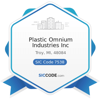 Plastic Omnium Industries Inc - SIC Code 7538 - General Automotive Repair Shops