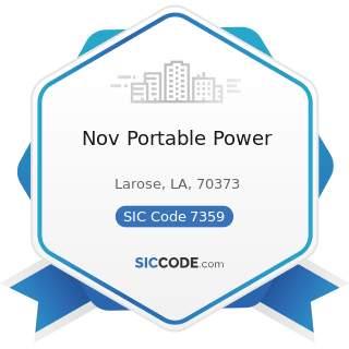 Nov Portable Power - SIC Code 7359 - Equipment Rental and Leasing, Not Elsewhere Classified