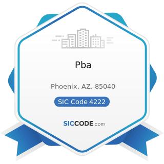 Pba - SIC Code 4222 - Refrigerated Warehousing and Storage
