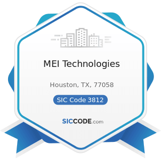 MEI Technologies - SIC Code 3812 - Search, Detection, Navigation, Guidance, Aeronautical, and...