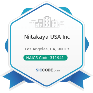 Niitakaya USA Inc - NAICS Code 311941 - Mayonnaise, Dressing, and Other Prepared Sauce...