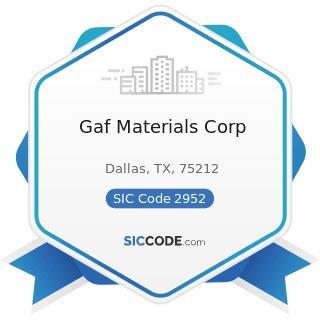 Gaf Materials Corp - SIC Code 2952 - Asphalt Felts and Coatings