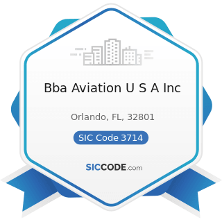Bba Aviation U S A Inc - SIC Code 3714 - Motor Vehicle Parts and Accessories
