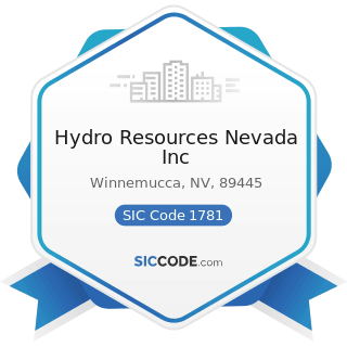 Hydro Resources Nevada Inc - SIC Code 1781 - Water Well Drilling