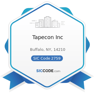 Tapecon Inc - SIC Code 2759 - Commercial Printing, Not Elsewhere Classified