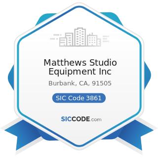 Matthews Studio Equipment Inc - SIC Code 3861 - Photographic Equipment and Supplies